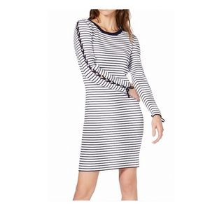 Michael Kors Striped Lace-Up Sleeve Sweater Dress.